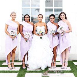 Wholesale High Low One Shoulder Dresses - Sexy One Shoulder Bridesmaid Dresses High Low Pleats A Line Satin Wedding Guest Dress Zipper Back Pleats Plus Size Formal Party Dress