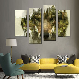 Wholesale Wooden Forest Animals - 4 Pieces Canvas Paintings Wall Art Picture for Home Decor Wolf Pine Trees Forest Animal Print On Canvas with Wooden Framed Ready to Hang