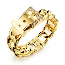 Wholesale Hinge Brass - Chunky Shiny Belt Buckle Bangle Wide Curb Chain Hinged Wrap Cuff Bangle Bracelet - Silver, Gold
