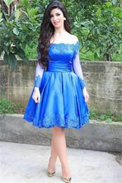 Wholesale Knee Length Corsets - Royal Blue Lace Applique Knee Length Party Cocktail Dresses Off Shoulder Ruched Satin Corset Prom Dress Long Sleeve