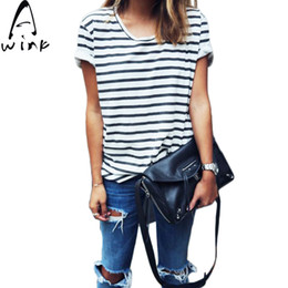 Wholesale Punk Style T Shirt - Wholesale-Tee Shirt Femme 2016 New Summer Style O Neck Sexy Womens Tops Striped Short Sleeve Female Punk T-Shirts Feminino camisetas