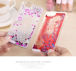 Wholesale Hard Plastic Clear Iphone4 Case - Phone case Floating glitter Star Quicksand Liquid Dynamic Hard Case clear transparent shining Cover For iPhone4 4s 5 5s 6 6s iphone 6s plus