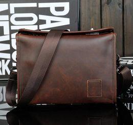 Wholesale Trends Casual Bag - rew lock design trend of Crazy Horse maloriginal double sce bag retro fashion handbag leisure men business men quality leather briefcase