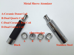 Wholesale Rod Sleeves - Metal Sleeve Atomizer wax Vaporizer with metal drip tip straight tube Dual Quartz Ceramic Rod Cotton Ceramic Donut Coil for ego evod battery