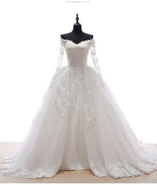 Wholesale China Gowns Online - 2016 China Online Store Fashion Sexy Long Sleeves Bridal Gown Lace Appliques A Line Wedding Dresses Plus Size Vestidos Do Noivas ZB01