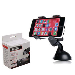 Wholesale Tablet Car Mount Clip - Universal Dual clip Windshield 360 Degree Rotating Car Mount Bracket Holder Stand For for iPhone 6 plus Samsung GPS tablet (112)