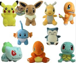 Wholesale Despicable Toys Pvc - 2016 9-12cm Poke Go Pikachu Bulbasaur Charmander Piplup Squirtle Eevee Mew Mini Plush Toys with hook keychain Soft Stuffed Dolls 7styles