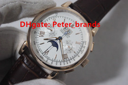 Wholesale Moon Cases - High grade quality glashutte men's automatic wristwatches DATOGRAPH PERPETUAL rose gold case brown leather see-through back brand watches