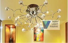 Wholesale Led Hallway Lighting For Office - 1set Modern Crystal chandelier with 11 Lights Chrom, Flush Mount Chandeliers LED G4 Ceiling Light Fixture for Hallway, Entry, Bedroom light