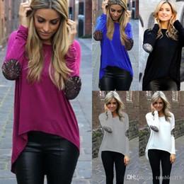 Wholesale Spring Coats Fashion Ladies - 2016 spring and autumn trade new coat glitter stitching T-shirt irregular lady all-match coat T-shirt Personality goddess