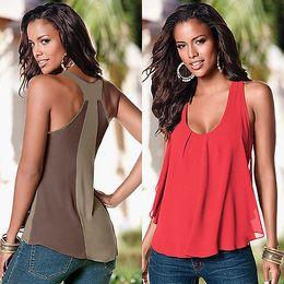Wholesale New Chiffon Tank Tops - Wholesale-2016 New Sexy Fashion Women Summer Casual Blouse High Quality Tank Tops Sleeveless Chiffon Vest T-Shirt New