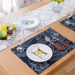 Wholesale Tables Manufacturers - Wholesale- Pastoral cloth table mat stick figure leave cotton wholesale trade placemats insulation pad manufacturers Coasters napkin