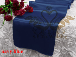 Wholesale Navy Satin Table Runner - Cheap Price Navy Blue Color Satin Runner For Table Cloth Banquet Wedding Runner