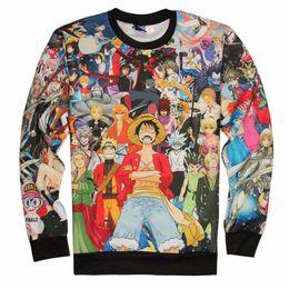 Wholesale Men S One Piece - Fashion Mens 3d Anime Long Sleeve One Piece Sweatshirts Unisex Women Men Cartoon Casual Sweatshirts Harajuku Clothing