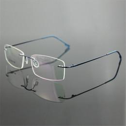 5b1ea0db3b492 Atacado-Classic Mens Pure Titanium sem aro armações de óculos Miopia Frame óptico  ultra-leve de titânio negócios sem armação de óculos de armação