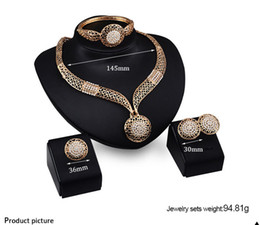 Wholesale Chunky Engagement Rings - 18K Gold Plated Chunky Chain Statement Necklace Earrings Bracelet Ring Jewelry Sets For Women Crystal Wedding Jewelry Sets