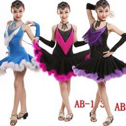 Wholesale Dress Figure Skate - Kids latino Dancewear costumes Outfits Girls Competition Latin Dancing Dress standard ballroom dress figure skating dress