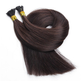 "Wholesale Double Drawn Hair Extensions Brown - 10A-Double Drawn 100% Human Hair I tip in hair extensions 14''- 26"" Keratin Stick tip Brazilian hair Brown Color"