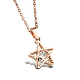 Wholesale Rose Gold Star Necklace - Rose gold necklace female bone chain pendant Korean Star Diamond jewelry lady N1008