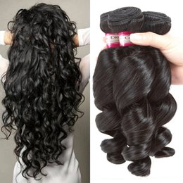 Wholesale Unprocessed Virgin Malaysian Loose Wave - 7A Unprocessed Virgin Hair loose Wave 3 Bundles Brazilian Hair Weaves Peruvian Malaysian Indian Dyeable Double Weft Black Color can be dyed