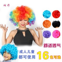 Wholesale Wigs Shipping Europe - free shipping Europe and America PET 120gs Color hair wigs cosplay clown wig hair net short curl hair wigs