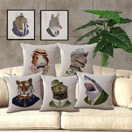Wholesale Dinosaur Pillows - Animal Gentleman Mr Jaws dinosaur Fox tiger Pillow Case Cushion Cover Square linen cotton Throw Pillow Case Home sofa Decor 240462