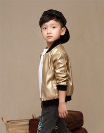 Wholesale Shiny Black Coats - 2016 Autumn Boys kids style faux leather blazers casual shiny bomber jacket PU coat boys little suits brand children outerwear