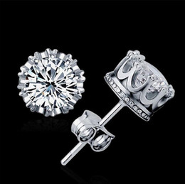 Wholesale Swarovski Earrings White Gold - Austrian Crystal 925 sterling Silver plating 30% White GOLD Crown Wedding Stud Earring Swarovski Elements Engagement Jewelry Free Shipping