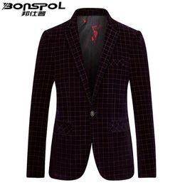 Wholesale Western Casual Suits - Brands BONSPOL Men's suit jinsirong autumn new Slim small suit business casual Plaid Korean western Slim Fit dress jacket