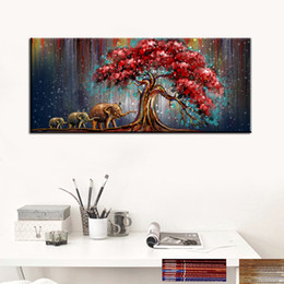 Wholesale Red Tree Wall Art - 150*75Cm Oil Painting High Quality Elephant Pray Artistic Painting Western Red Tree Leaves Abstraction Paintings Home Wall Art Decoration