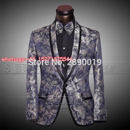 Wholesale Mens Wedding Suit Flowers - Wholesale- Hot Sale Classic Men Wedding Suits Tuxedo Blue Flower Mens Stage Singer Peformance Slim Fit Skinny Male Suits (Blazer+Pants)
