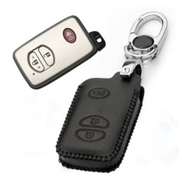 Wholesale Case Toyota Keys - Car Leather Remote Control Car Keychain Key Cover Case For Toyota Camry Highlander Crown 3Buttons Smart Key S157