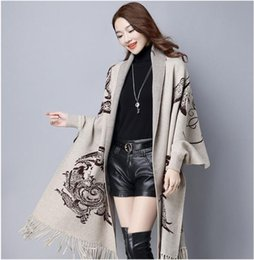 Wholesale Thin Wool Scarves - Women's Knitted Scarf Cape Elegant Socialite Cashmere Tassel Cardigan Sweaters Batwing Sleeves Scarf Cape Outwear
