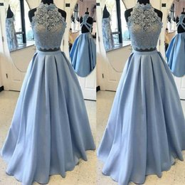 Wholesale Cheap Import Dress - Cheap Prom Dresses Long 2017 Sexy 2 Piece Sheer A-Line Satin Imported Party Dress Formal Evening Gowns