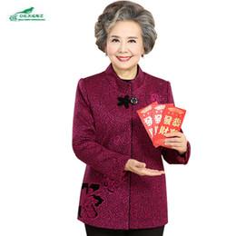 Wholesale Elderly Women Clothing - Elderly Women jacket Coat 2017Spring Fashion Embroidered Coat Plus Size L-5XL Casual Long Sleeves Clothing Outerwear Tops OKXGNZ