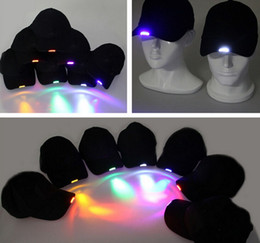 Wholesale Glow Dark Hats - Super Bright LED Cap Glow in dark for Reading Fishing Jogging Light up LED Sport Hat black peaked cap 6 colors available