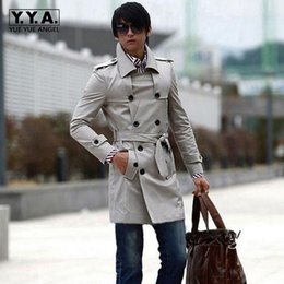 Wholesale Men S Belted Trench Coat - Wholesale- Classic Mens Trench Coat Slim Fit Double Breasted Jacket Long Belt Businessman Outerwear Coat Men's Jackets British Windbreaker