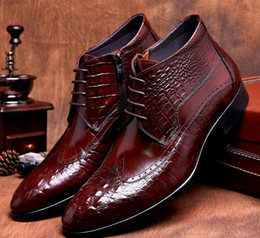 Wholesale Aligator Leather - Brand New Men Leather Boots Genuine Leather Black Brown Lace Up Wingtip Aligator Luxury Classic Mens Winter Shoes