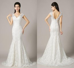 Wholesale Plus Size Thigh Stockings - Sexy Lace Wedding Dresses V-Neck Mermaid Backless Floor-Length ZAHY 100% Real Image In Stock Bridal Gowns
