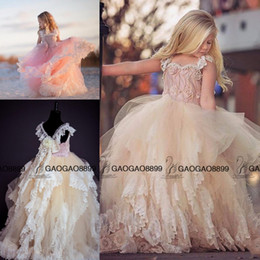 Wholesale Blue Gothic Wedding Dresses - 2016 vintage gothic Beach Flower Girl Dresses For Weddings Lace Applique Ruffles Little Girl Pageant Dress Pearls Girls Birthday Gown