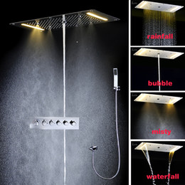 Wholesale Square Tap Shower Tub - Large flow Rainfall LED Shower Head Multi Function Tub Mixer Tap Bath Shower Faucet Set Wall Bathroom Shower System