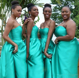 Wholesale Strapless Turquoise Dress Long - Turquoise Hi Lo Arabic Style Bridesmaid Dresses With Pockets Satin Plus Size Negerian African Wedding Guest Maid Of Honor Party Gowns