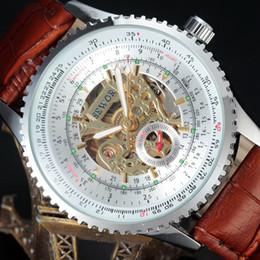 Wholesale Skeleton Dresses - SEWOR Mechanical Watch Men Luxury Brand Business Skeleton Army Clock Self Wind Wrist Dress Leather Strap Wristwatches S21