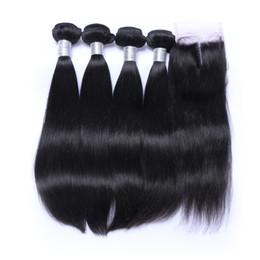 Canada 7A Droite Cheveux Trame avec 4x4 Dentelle Fermeture Brésilien Indien Malaisien Péruvienne Non Transformés de Cheveux Humains Naturel Couleur DHl Livraison Gratuite Offre