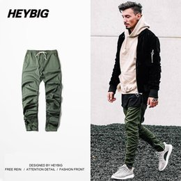 Wholesale Harem Pants Zip - Wholesale-Tapered Hip hop Machete Pants HEYBIG Brand Fear God with Drawstring Elastic waist Size zip Cuff Harem Trousers 2016 New Arrival