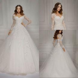 Wholesale Ivory Lace Wholesale Wedding Gowns - Vestido De Novia Long Sleeve Muslim Wedding Dress with Detachable Jacket Appliques Ball Gown Bridal Gown