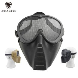 Wholesale Paintball Mesh Mask - Full face mask skull CS field equipment protective masks metal steel net mesh tactical masks outdoor hunting paintball airsoft