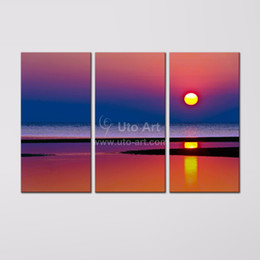 Wholesale Ocean Painting Piece - New 3 Piece Canvas Art Painting Seascape Modular Picture of Sunrise Ocean Beach Decor Canvas Painting Giclee Prints for Home