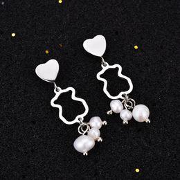 Wholesale Beads Stud Earrings - New Design Panda style stainless steel women silver pearl bead Heart charms Spanish brand earrings party jewelry bear El pendiente oso