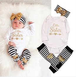 Wholesale Rompers Feet - 2016 European Style Ins Girl Autumn Clothing Infant Toddlers Long Sleeve Rompers+Matching Sequined Headbands+Foot Straps Three Piece Outfit